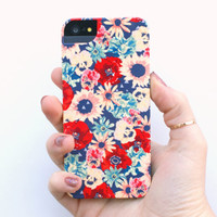 illustrated phone case, iphone 5, 5S. hard case, vintage floral pattern print, poppies, sunflowers, pansies