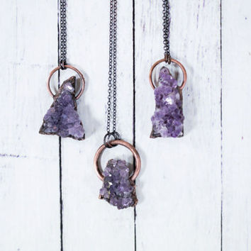 Amethyst crystal necklace | Amethyst statement necklace | Druzy Amethyst crystal necklace | Druzy amethyst pendant | Amethyst jewelry