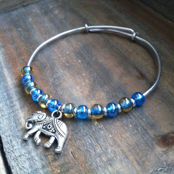 Adjustable Bangle Bracelet - Elephant Bangle Bracelet, Blue Bangle Bracelet - Stacking Layering Bangle Bracelet