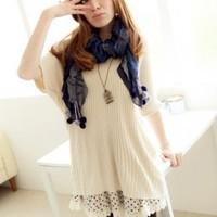 Shining Ladies Apricot Casual Knit Blouses : Wholesaleclothing4u.com