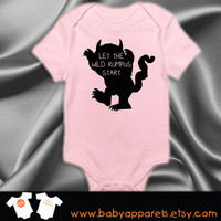 Let the Wild Rumpus Begin bodysuit inspired by Where the Wild Things Are, Cute Bodysuit, Baby Boy, Baby Baby Bodysuit, Funny Baby