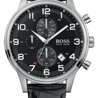 Men's BOSS Leather Strap Chronograph Watch, 44mm