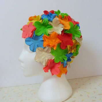 Vintage 1950's Bathing Beauty Bright Floral Swim Cap