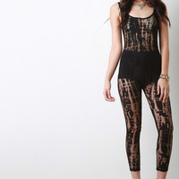 Semi-Sheer Distressed Mesh Pattern Jumpsuit
