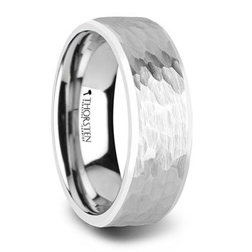 Hammered Imprint White Tungsten Ring with Polished Bevel Edge