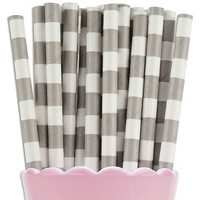 Gray Ring Stripe Paper Straws