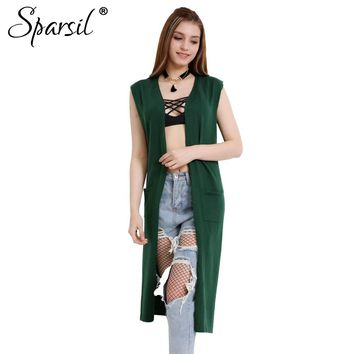 Sparsil Women's Spring&Autumn Sleeveless Long Cardigan With Pocket Cashmere Knitted Fashion Split Style All-match Sweater