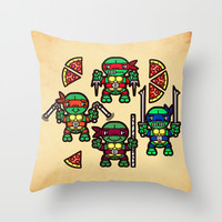 Teenage Mutant Ninja Turtles Pizza Party Throw Pillow by Chobopop