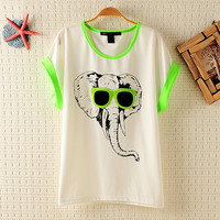 Elephant with Sunglasses T-shirt for Women from AnnaliseSBoutique