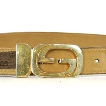 GUCCI Vintage Brown Logo Canvas & Leather Gold Metal Logo Buckle Belt 40 100