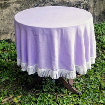Vintage Round Lavender 54 Inch Round Tablecloth White Fringe