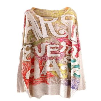 Art Everyday Printed Knitted Long Sleeve