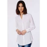 Missguided - Rolled Sleeve Muslin Shirt White