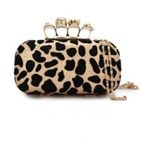 New Cheetah Print Pattern Skull Clutch Handbag Cosmetic Purse Synthetic Leather Evening Cross Body Leaf Chain Strap Bag (Golden)