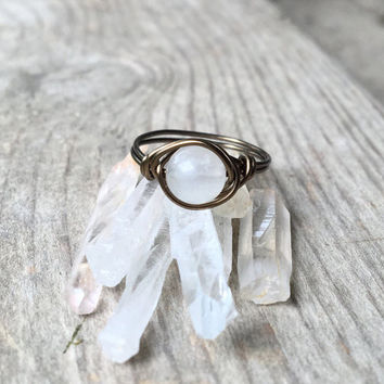 Quartz ring, Quartz crystal, Wire ring, stone ring, bronze ring, wire wrapped ring, gemstone ring, raw Quartz ring, personalized ring, boho