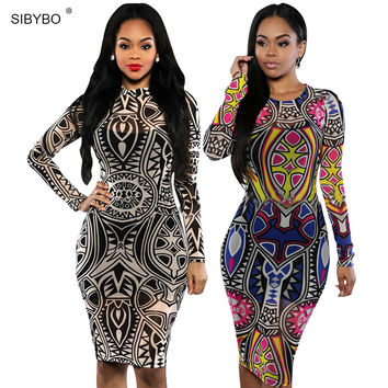 2016 New Vintage Women Spring Sexy Summer Club Bandage Dresses Tribal tattoo sheer  Midi Pencil Bodycon Party Dresses Plus Size