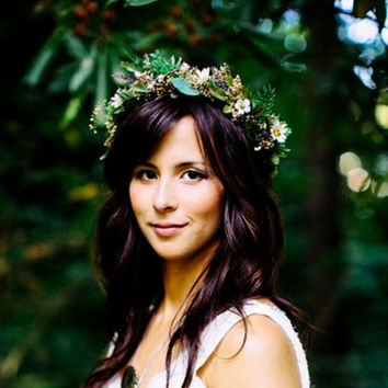 Bridal Greek Goddess Flower crown headpiece by Michele AmoreBride Greenery Headdress vine hairwreath barn wedding accessories gothic grecian