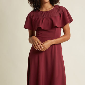 Illusion Ruffle Midi Dress in Merlot