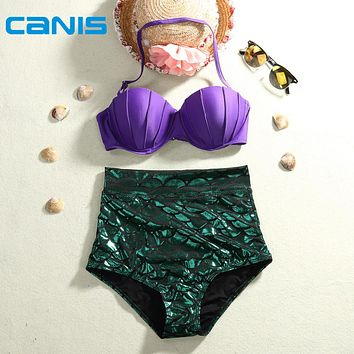 Black Friday Deals 2016 New CANIS Mermaid Bikinis Set High Waist Natural Color Summer Swimsuit Push Up Slim Plus Size Swimwear