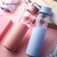 Transhome Glass Water Bottle 320ml New Portable Creative Leak-Proof Seal Sports Drinking For Water Travel Outdoor Sport Bottles