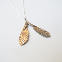 Samara Bronze Silver Necklace - Maple Seed