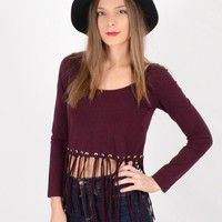 Shown to Scale Maroon Long Sleeve Fringe Crop Top | Festival Crop Top on Bogatte