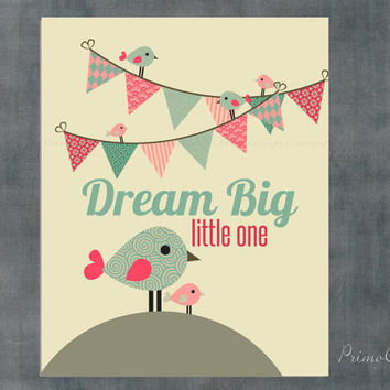 Dream Big Little One / Girl Nursery Art Print / hot air balloon / 8x10 inch / pink / wall art / for baby room decor artwork