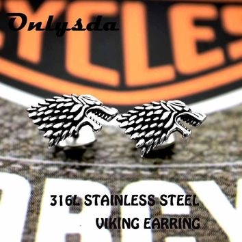drop shipping wholes Punk Rock stainless steel Wolf Animal Love Stud Earrings 2018 Charm Viking amulet Gothic Jewelry For man