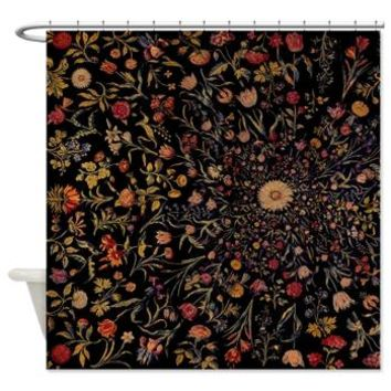 Medieval Flowers On Black Shower Curtain> Shower Curtains> Bloomingvinedesign's Cafe Press Shop