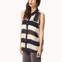 Multi-Stripe Chiffon Shirt