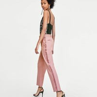 EMBELLISHED PINK TROUSERS