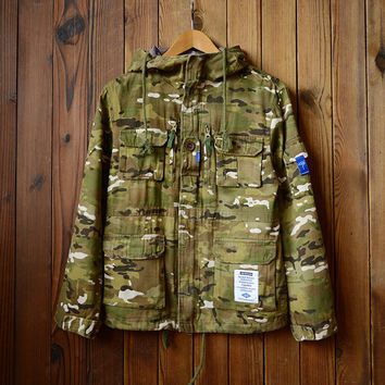 Vintage Men's Military Cotton Jackets with Hood