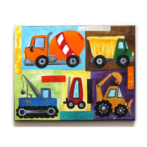 Painting A Boys Room: Wall Art For Children, Construction From NJoyArt On Etsy