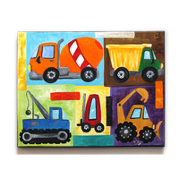 Wall Art For Children, Construction Vehicle Painting, 11x14 Canvas Art for Boys room or Boys Nursery