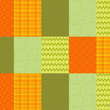 Patchwork Patterns - Orange and Olive by SRowe Art