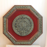 Large Aztec Wall Hanging Vintage Octagonal Wood with velvet and trim Mayan made in Mexico Office Decor Home Decor