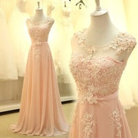 floor length formal evening dress gown 2015 new Elegant pink A-line lace chiffon maxi long dress women weddings prom party dress