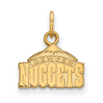 NBA 14k Yellow Gold Plated Silver Denver Nuggets Xsmall Logo Pendant