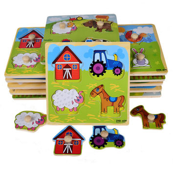 BOHS Small Wooden Animals Cartoon Grab Peg Knob  Puzzles Toy 14.8*14.8*0.8CM