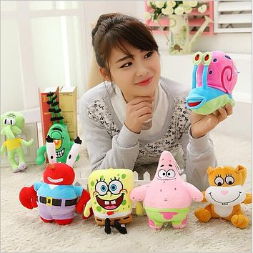 7 pcs/set Super Cute Soft Plush Spongebob,Patrick star,Squidward,Tentacles,Mr. Krab,Sheldon Plankton Gary Toys Gift for Kids