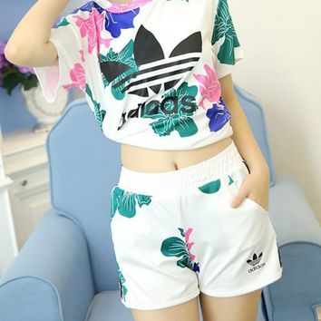 """Adidas"" Women Fashion Flowers Print Short sleeve Top Shorts Sweatpants Set Two-Piece"
