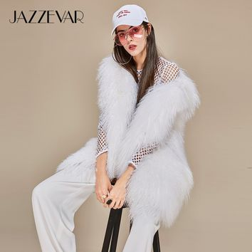 New Winter High Fashion Debutantes Women's Luxurious Real Sheep Fur Vest White One Fur Jacket Outwear