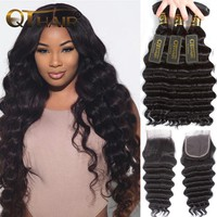 Loose Deep Wave Bundles With Closure Human Hair Bundles With Closure Brazilian Virgin Hair Weave Bundles With Closure QT Hair