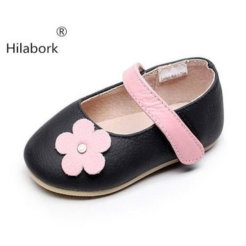 Hilabork Girls leather casual spring and autumn new products 1-3 years old princess shoes student shoes flowers summer sneakers