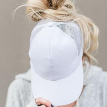 Messy Bun Baseball Hat - White