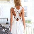 White V-Neck Sleeveless Lace Strap A-Line Mini Dress