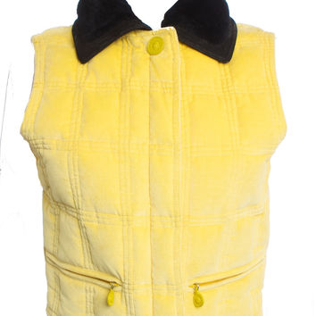 GIANNI VERSACE BLACK SHEARLING LEATHER COLLAR YELLOW VELVET SILK LINED VEST SZ S