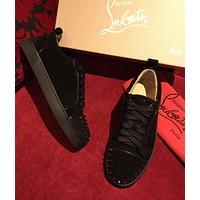 Sale Christian Louboutin CL Louis Junior Spikes Men's Women's Flat Black Suede Shoes