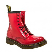 DR MARTENS 8 EYELET LACE UP WOMENS RED PATENT BOOTS