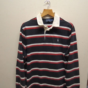 15% CRAZE SALE Vintage 90's Polo Ralph Lauren Rugby Wear Stripe Long Sleeve Polos Sport Wear Size LL